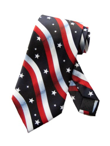 Parquet Mens Usa Stars And Stripes Necktie-Navy Blue-One Size Neck Tie
