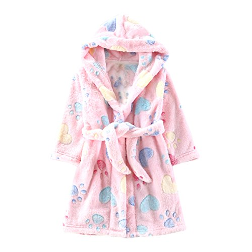 Toddlers/kids/baby Soft Fleece Bath Robe Children Pajamas Sleepwear With Hood (2T, Pink) (Toddler Hooded Robe compare prices)