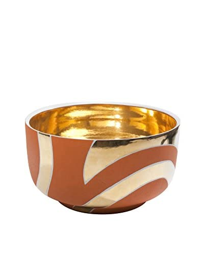 Waylande Gregory Zebra Stripes Large Chubby Bowl, Orange/Gold
