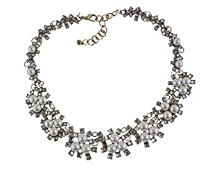 J New Crew Pearl and Rhinestone Crystal Statement Necklace