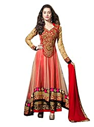 Starword Beautiful Heavy Kapoor red Semi stiched Dress Material High Qualitty