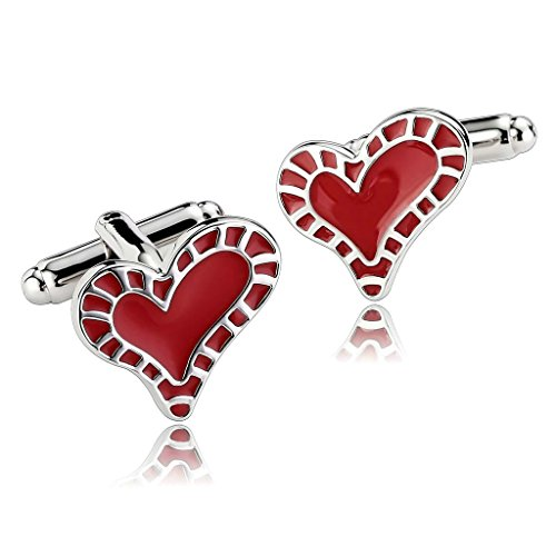 AmDxD Jewelry Stainless Steel Men Cufflinks White Red Glossy Carved Love Heart Cuff Links (Ny Giants Tie Clip compare prices)