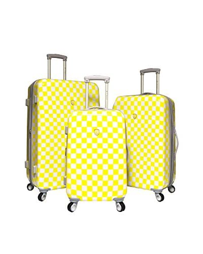 Travelers Club 3-Piece Paris Collection Expandable Hardside Spinner Luggage Set, Checkered Yellow As...