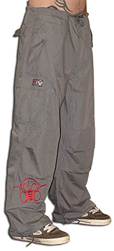 Ghast Unisex Cargo Drawstring Rave Dance Pants, Basic Charcoal Small