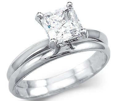 Size- 5 - Solid 14k White Gold Princess Engagement Wedding Set CZ Cubic Zirconia Ring 1.5 ct