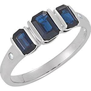 IceCarats Designer Jewelry Sterling Silver Genuine Blue Sapphire And Diamond Ring Size 6