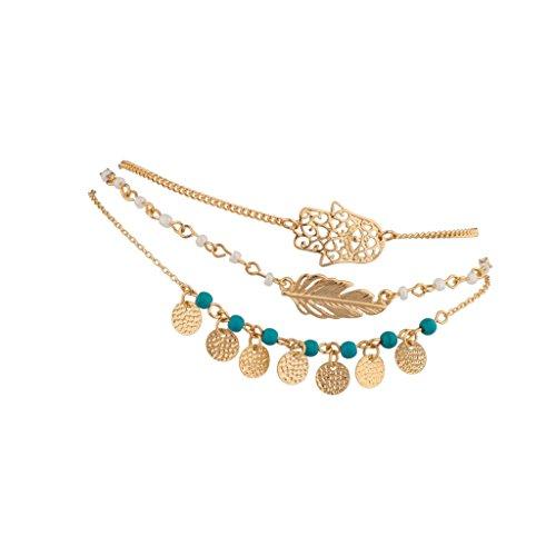 Hamsa Evil Eye Leaf Feather Turquoise Bead BFF Best Friends Forever Anklet Set