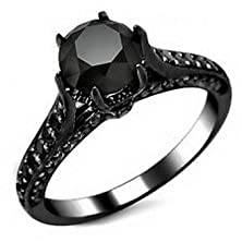 buy Pixel Jewelry 1985 - 6Mm Claw Rings Size5 Crystal Women'S 10Kt Black Gold Filled Engagement Free