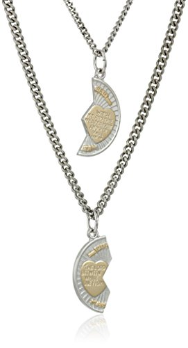 Sterling Silver Mizpah Medal Necklace with Stainless Steel Chains, 20″ and 24″