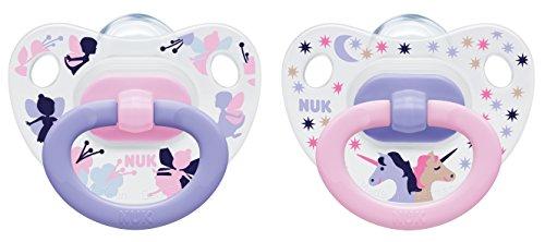 NUK 10175125 Happy Days Silikon - Schnuller mit Ring, kiefergerecht, Größe 1, 0 - 6 Monate, 2 Stück, Girl