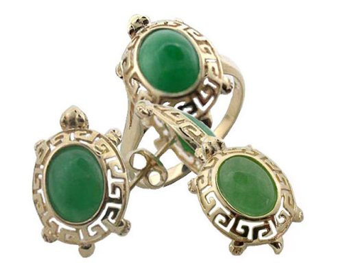 Green Jade Baby Turtle Earrings, Ring and Pendant Set, 14k Gold