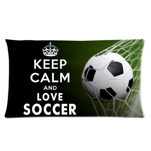 Keep Calm And Love Soccer Custom Rectangle Bed Pillow Cases 20X36 (Twin Sides) front-1000664