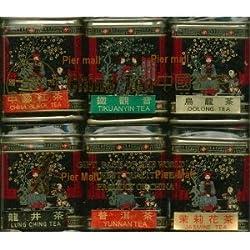 (PACK OF TWO) China Tea Loose Leaf Sampler Gift Pack - 6 Tins (Jasmine, Pu erh Black, Longjing Green Tea, China Green, Oolong, Tiekuanyin Oolong) from Golden Dragon