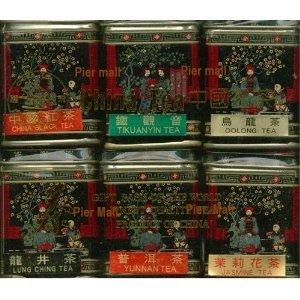 (Pack Of Two) China Tea Loose Leaf Sampler Gift Pack - 6 Tins (Jasmine, Pu Erh Black, Longjing Green Tea, China Green, Oolong, Tiekuanyin Oolong)