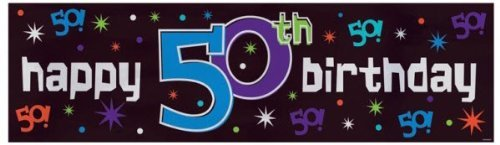 "Amscan The Party Continues 50th Birthday Celebration Giant Sign Banner, 65"" x 20"", Black/Purple/Teal"