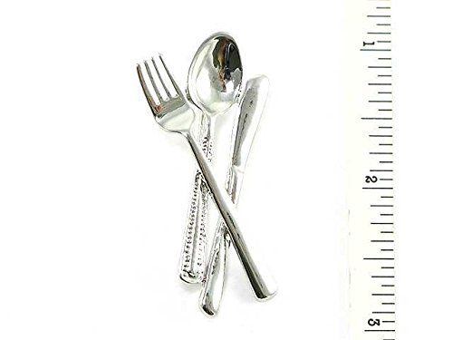 Women'S Silver Toned Dining Utensils Fork, Spoon, And Knife Brooch