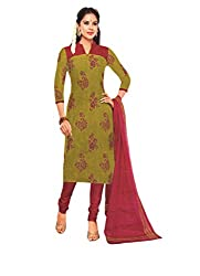 M.S. Boutique - Unstitched Cotton Dress Material - Red- (MS-SBT-204)