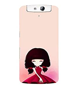 EPICCASE Beauty girl in Pink Mobile Back Case Cover For OPPO N1 (Designer Case)