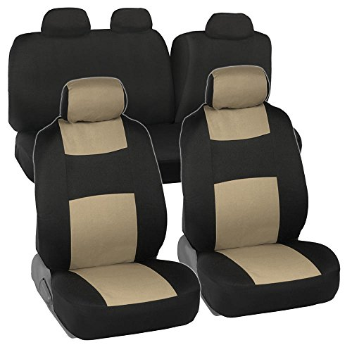 Full Set Black & Beige Seat Covers for Car Auto SUV Polyester Cloth - 60/40 Split Rear Bench (2015 Honda Accord Rear Seat Cover compare prices)