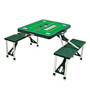 Picnic Time with Poker Design Portable Folding Table Seats by Picnic Time