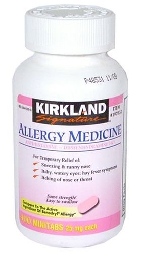 Diphenhydramine HCI 25 Mg - Kirkland Brand - Allergy Medicine and AntihistamineCompare to Active Ingredient of Benadryl® Allergy Generic - 400 Count