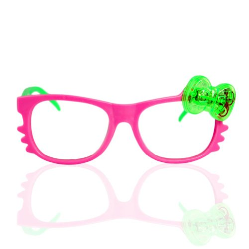 Led Bow Kitty Glasses - Pink
