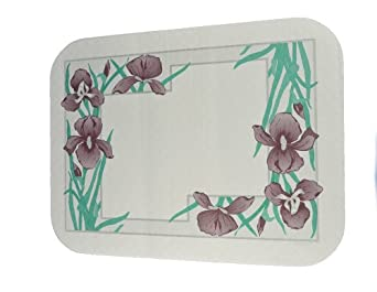 "Dinex DX5081A202733NS Paper Iris Garden Non-Skid Tray Cover with Scalloped Edge/Round Corner, 18-1/2"" Length x 10-7/16"" Width, Size A (Case of 1000)"