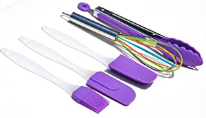 Colorful PBA Free Silicone Five Piece Kitchen Utensil Tool Set Includes Matching Spatula Batter Spoon Tongs Whisk and Basting Brush in Blue Green Red Purple Orange Black Yellow