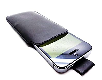 Slim and Soft Protective Leather Pull Tab Sleeve Case Cover Pouch for iPhone 5C 5S 5 (Black)