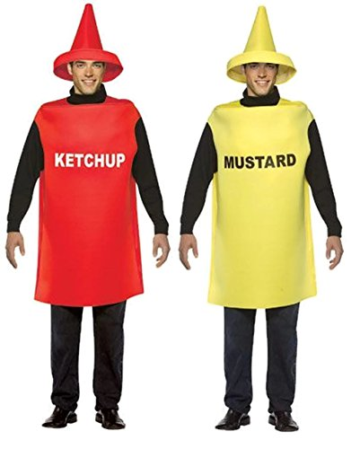 Ketchup and Mustard Bottle Adult Couples Costumes Style:Ketchup And Mustard