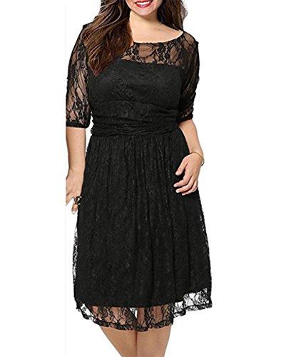 Yomoko-Womens-Plus-Size-Floral-Lace-Empire-Waist-Fit-Cocktail-Wedding-Dress