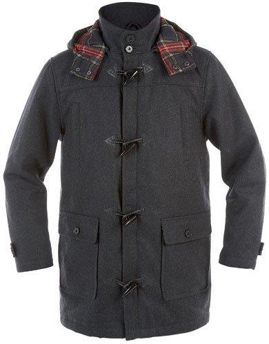 Duke Mens Wool Duffel Coat with Hood (Dark Grey XL)