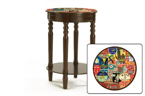 New Hotel Label Poster Themed Cappuccino / Espresso Round Night Stand End Table front-1043368