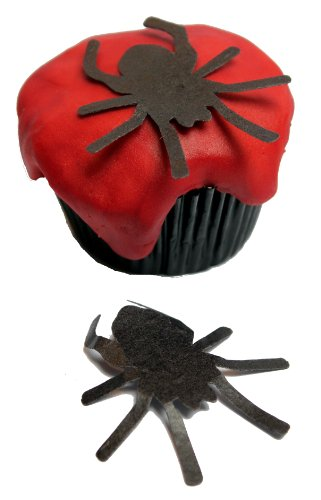 (H) Black Gothic Edible Rice Paper Halloween Giant Spider Cup Cake Decoration x 12