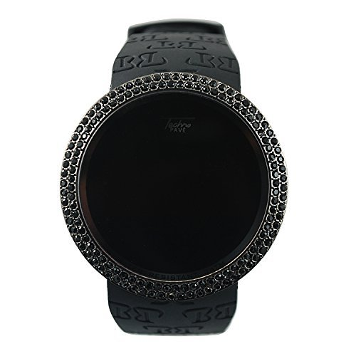 Techno-Pave-Iced-Out-Bling-Lab-Diamond-Black-on-Black-Digital-Touch-Screen-Sports-Smart-Watch-with-Rubber-Silicone-Band
