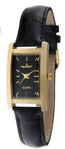 Peugeot Women`s Classy 14K Gold Plated H Rectangle Case Black Leather Band Dress Watch 3007BK