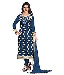 BK ENTERPRISE Women's Navy Blue Georgette And Embroideres Dresses(bk-553_freesize)