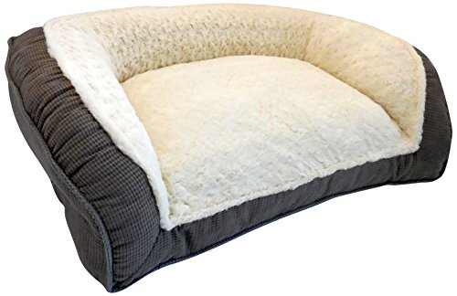 Paws-Claws-Tyler-Hounds-Tooth-Microfiber-Couch-Style-Bolster-Pet-Bed-40-Inch-by-25-Inch-Charcoal