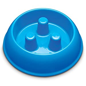 Brake-Fast Dog Food Slow Feed Bowl - Medium Blue