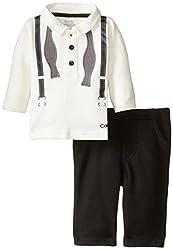 Calvin Klein Baby Boys' Vanilla Polo Top with Pants