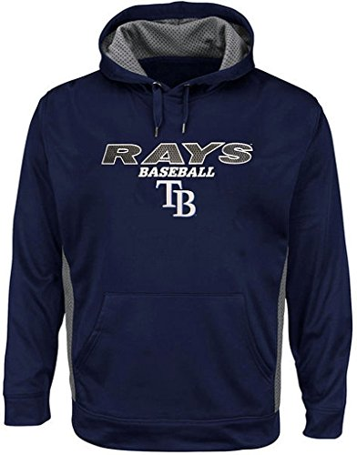 Tampa Bay Rays MLB Majestic Mens Rookie Phenom Pullover Hoodie Navy Blue Big & Tall Sizes (XLT)