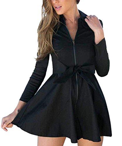 Fanala Casual Long Windbreaker Zipper jackets Outwear Coat Dress