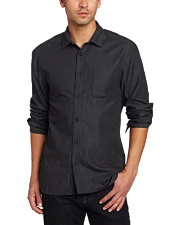 7 For All Mankind Men's Colored Weft Shirt, Pearl Black, Small