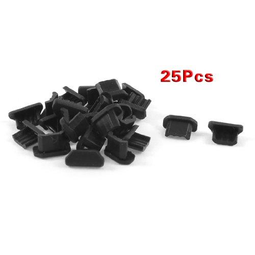 SODIAL(R) 25 Pcs Anti-poussiere Noir Couverture de Dock Souple en Plastique Micro USB Port Prise D'Ecouteur