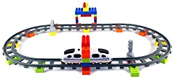 Iron Horse Building Blocks Battery Operated Childrens Kids Toy Train Set w/ 2 Train Cars, 8 Curved,