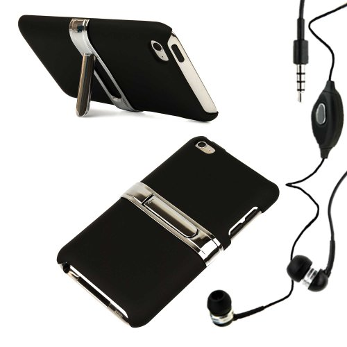 Vg Black Ipod Touch Case With Stand (Hard Metal Kickstand) For Apple Ipod Touch (32Gb, 64 Gb, 8Gb, 4Th Gen) Current Version + Compatible Ipod Touch Earbuds Earphones With Microphone!!!