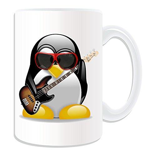 Personalisiertes-Geschenk-groer-Elektrische-Bassgitarre-Tasse-Design-Pinguin-in-Kostm-Thema-wei-alle-NachrichtName-auf-Ihre-einzigartige-Musik-Musikinstrument