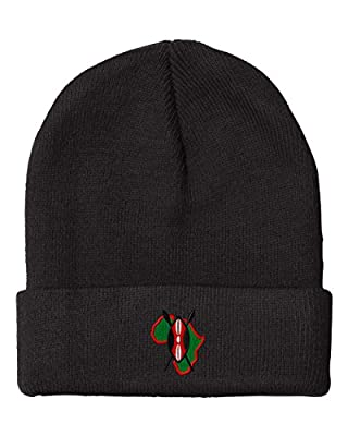 African Shield Embroidery Embroidered Beanie Skully Hat Cap