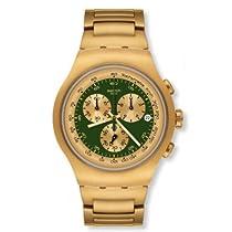Swatch Chronograph Golden Block Green Stainless Steel Mens Watch YOG406G
