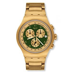 Swatch Chronograph Golden Block Green Stainless Steel Mens Watch YOG406G